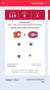 2 BILLETS POUR LES CANADIENS CONTRE CALGARY MARDI LE 23 OCTOBRE