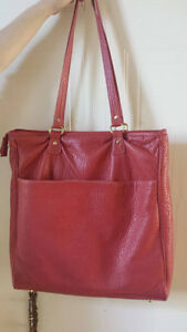 15'' Laptop Bag Red Leather