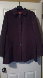 Women's Anne Klein Mid Thigh Length Brown Quilted Jacket - L/XL