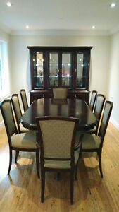Dining table, Hutch, Server, 8 Chairs