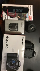 Cannon 70D Full Set up with Lens and Microphone