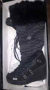 Naughty Monkey black fur winter wedges heeled boots mukluks