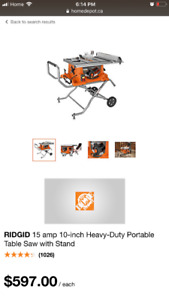 "Brand New Ridgid 15AMP 10"" Heavy-Duty Portable Table saw W/Stand"