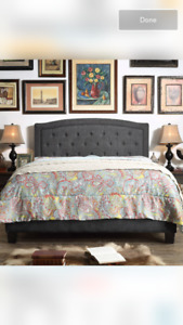 Charcoal Queen bed frame  and head board, brand new in box!!