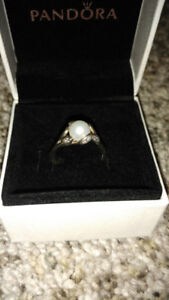 PANDORA PEARL & STERLING SILVER RING, MUST GO ASAP!!