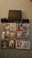 Playstation 3 (PS3) Slim 120GB + 12 games and 2 controllers