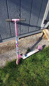 Girls barbie two wheeled scooter metal