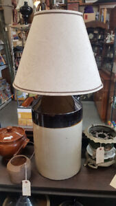 Stoneware Jug Accent Lamp with Vintage Shade