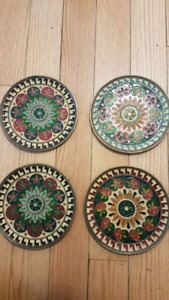 Set of 4 Copper Plates with Enamel designs