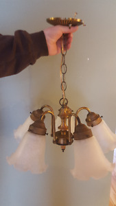 Brass Colored 5- Light Fixture with Frosted Glass Shades