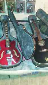 Ibanez hollow body and takmine electric acoustic