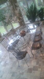 Custom made wrought iron 10 pce dinette set