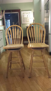 Solid Oak Counter height Mennonite  made Bar Stools