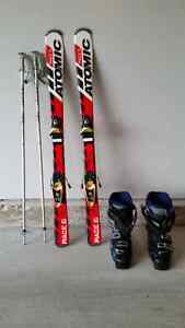 Ski with poles and boots