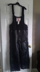 Ladies Black Leather Snowmobile pants/ Medium