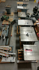 Surplussed table saws, band saw, drill press and dust collector