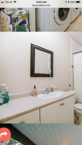 2 bathroom vanities including sink, countertops and faucets.
