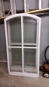 Large Vintage Wood Windows with Arched top