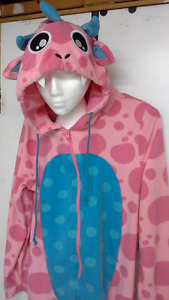 woman's pink hooded polka dot monster onesie pajama / costume