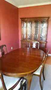 Formal dining table, chairs, and hutch