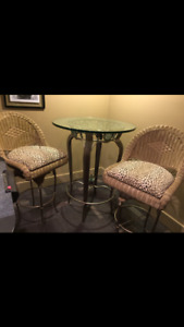 Wrought iron breakfast table and chairs