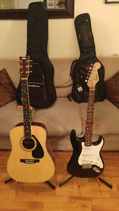 2 Guitars for Sale: Squier by Fender Strat & Yamaha FD02Acoustic