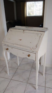 Traditional Wooden Flip Top Desk, Off White Chalk Paint