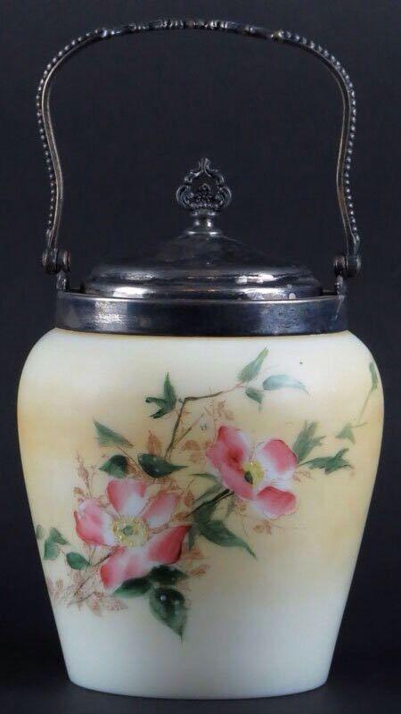 Vintage Wavecrest Apple Blossoms Biscuit Jar