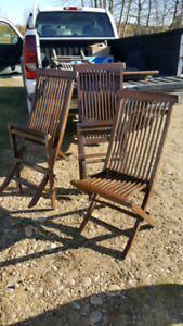 Antique Teak folding chairs