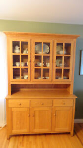 Oak Buffet and Hutch (Solid Wood)