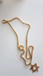 David star gold chain all 14k!