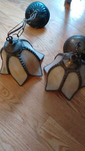2 matching stain glass lights