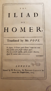 Homer's Iliad by Pope 1715 1st Ed. Wholesale priced at $1150.