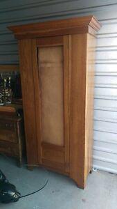 Beautiful Antique Solid Oak  Mirroed Oak Single Door Wardrobe