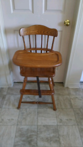 Solid oak high chair,