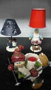 2 Candle Lamps & a Snowman Tea Light Candle Holder