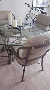 Glass Dining Table with 4 Rod Iron Cushion Chairs Kitchener / Waterloo Kitchener Area image 1