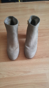 Beige suede booties with a 2.5 inch heel - very gently used