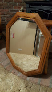 Octagon shaped mirror with oak frame