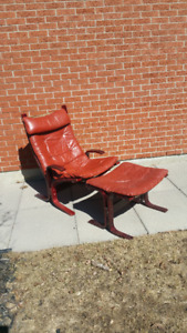 Plydesigns Red Leather Lounge Chair and Ottoman