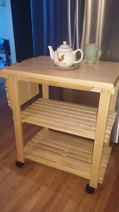 MAPLE TEA CADDY CART ON ROLLERS