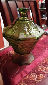 Green Candy Holder And Cow Jar