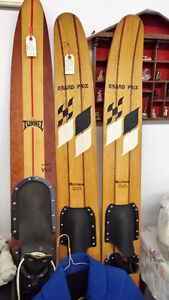 Vintage Wood Water Skis, Slalom, Planks, Tow Cable, Wet Suit