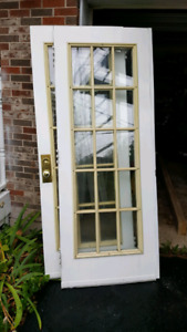 Double balcony door with frame