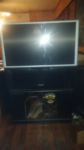 Hitachi 40 inch back projection  tv + stand