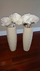 Two (2) Decorative Floor vases vase ivory beige Pickering