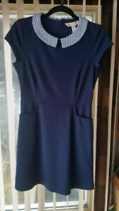 Navy blue dress with collar