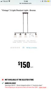 """Suspension à 5 lumières « Vintage » bronze/""""Vintage"""" 5-Light"""