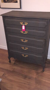 Vintage Grey Dresser/Tall Boy with Gold Handles Refinished- $350