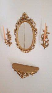 Wall Sconces, Mirror and Shelf